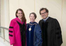 President Kerry Walk with Honorary Degree recipients Debora Spar and John Leguizamo