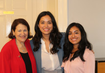 L-R: Vice President for Student Affairs Carol Jackson, Councilwoman Carlina Rivera, Jennifer Acevedo '19
