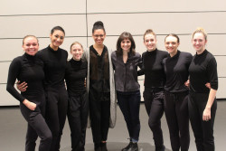 Chantelle Good '18 with dancers from her presentation, Physical Response, and Prof. Elisabeth Motley