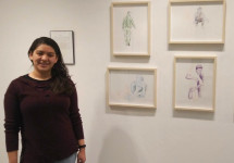 Itzamary Dominguez '19 with her Missing Moments artwork