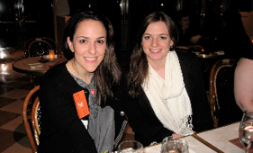 Jillian Moseman, '10, and Virginia Melvin, '10, dining with alumni after their tour at the Metropolitan Museum of Art.