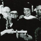 Coretta Scott King receives her Doctor of Human Letters in 1969.
