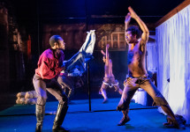 Ato Blankson-Wood, left, and James Cusati-Moyer '11 in the acclaimed Off-Broadway production of S...