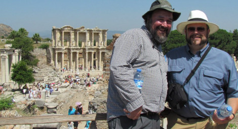 Mark Ring, Professor of Theatre Arts and Rob Dutiel, Associate Professor of Theatre arts, in Greece with students.
