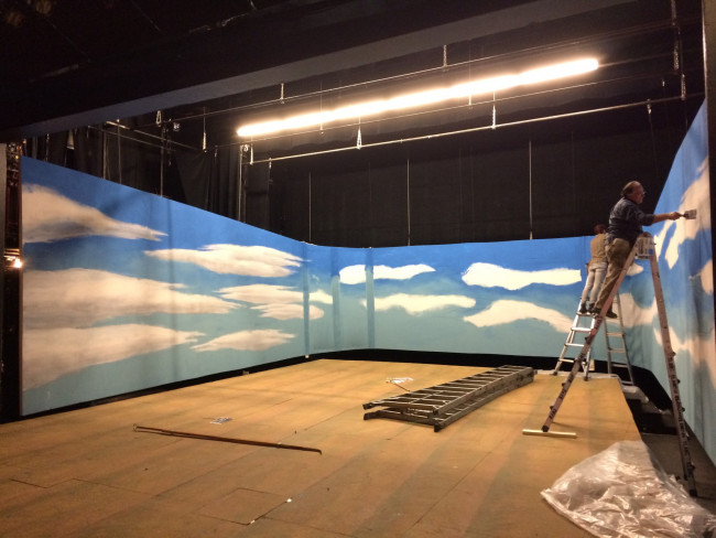 Ray Recht, Professor of Theatre Arts and Scenic Designer, painting the O PIONEERS! set (November, 2014).
